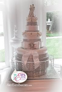 Art Eats Bakery 1626 East North Street, Greenville, SC 29607https://www.facebook.com/ArtEatsBakerySCCinderella princess 5 tier elegant custom wedding cake design with Cinderella and Prince Charming topper bow, rhinestones, ribbons and crystal cake standThe best custom designed unique #creative #modern birthday, baby shower and elegant romantic wedding cakes create a personal element to your party or reception that cannot be matched by decor or venue. It is the...