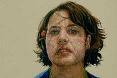 Cayce Zavaglia's portraits look like hyper-realistic oil paintings--the sort where every last blemish and strand of wayward hair is so meticulously rendered, you have to wonder if the artist has obsessive-compulsive tendencies. Zoom in, though, and you realize that each portrait is entirely--painstakingly--hand-stitched. The larger ones measure about a foot tall and 3 feet wide, and take as many as six months to complete.