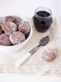 blueberry jam doughnuts with lavender sugar