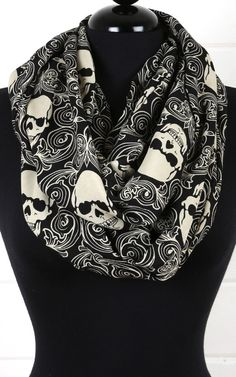 Skull Design Infinity Scarf BLACK