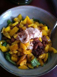 Quick and easy vegan dinner idea: Vegan Dinner Bowl w/beans, greens & grains #GoVeganWithJL