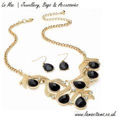Black Crystal Leaf Design Necklace Set