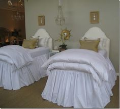 headboard, guest bedrooms, twin beds, white bedding, blue home, design elements, bed skirts, guest rooms, girl rooms