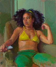 Artist: Lea Colie Wight, b. 1951 {contemporary figurative painter beautiful seated woman torso african-american black woman décolletage halter top #naturalhair painting #loveart}