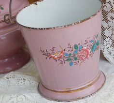 French Enamelware Bucket  Footed with Swing Handle by PatinaVille