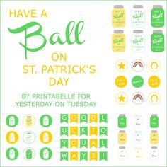 St. Patricks Day Mason Jar Printables from Yesterday on Tuesday