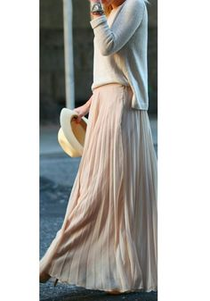 Nude Plain Pleated A
