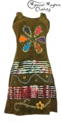 Bares Brown Embroidery Hippy Style Dress