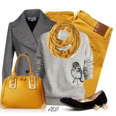 Yellow and Gray, created by amy-phelps on Polyvore