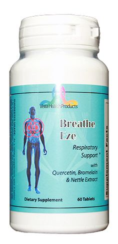 Breathe Eze™ is a synergistic combination of key vitamins, minerals and herbal extracts that nutritionally support healthy respiratory functions. Breathe Eze™ is a combination of herbs helping the lungs to clear mucus and free breathing. It has also been known to help with breathing, asthma, bronchitis, coughing, wheezing, including dry or moist cough, and heaviness in the chest. http://www.allnaturalhealth.vistahealthproducts.com