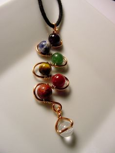 7 Chakra Pendant  Copper Wire Wrapped  Semi Precious stones, wire wrapped , black cord included and Free US Shipping. Original Design by CherylsHealingGems, $31.00