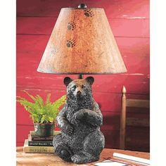 cabin light, cabin accessori, decor, lamps, bears, bear lamp, black bear, bedsid lamp, big bear