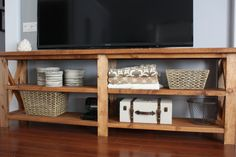 Rustic X Console Table   Do It Yourself Home Projects from Ana White