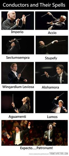 Conductors and their spells- I might put this up in my classroom.