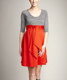 hey pregnant ladies -- go buy this dress! look how cute! // Black & Red Stripe Maternity Scoop Neck Dress
