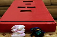 Make own family board games. DIY checkers, dominoes, bean bag toss and more!