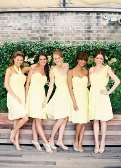 spring wedding bridesmaids, pale yellow bridesmaid dresses, soft yellow bridesmaid dresses, bridesmaids yellow, pale yellow wedding dresses, chiffon bridesmaid dress, style me pretty bridesmaids, bridesmaid yellow dresses, wedding yellow dresses