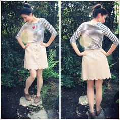 DIY: scallop button up skirt