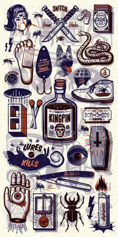graphic design, andrew fairclough, vintage illustrations, studios, tattoo flash