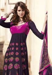 Deep Purple Faux Georgette Embroidered Anarkali Style Kameez with Churidar and Dupatta