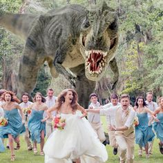 T. rex chases wedding party in this hilarious photo