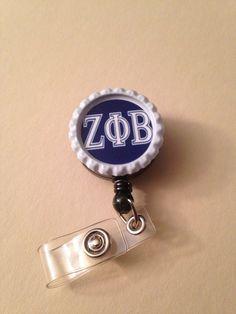 Zeta Phi Beta Sorority  Bottle Cap Retractable ID by 316Market, $5.00