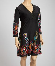 Black & Red Floral Surplice Dress #zulily #zulilyfinds