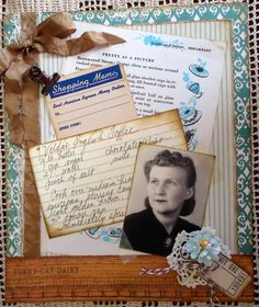Recipe inspired heritage page for a genealogical album or heritage scrapbook.