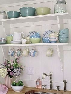 Cute dishes on open shelves