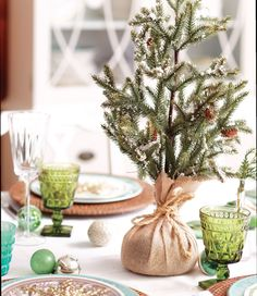 Snip a tiny cutting of your Christmas tree (or get baby evergreens from the garden centre), place in a small tumbler or vase, wrap in burlap and tie with twine, spray with faux snow for added effect., enjoy !