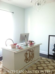 hang a large monogram on the front of your desk. office refurbishment, monogram on desk, office desks, refurbished desk, monogram office, home offices, refurbish office desk