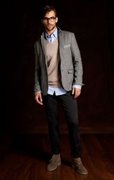 grey jacket, tan sweater, blue shirt, black jeans and brown desert boots | Guess by Marciano FW 2012