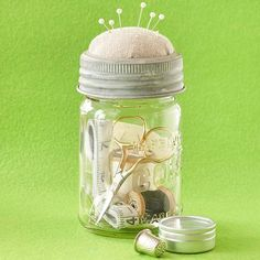 Do you know someone that loves to sew? Make this sewing essentials jar! More handmade hostess gift projects: http://www.bhg.com/christmas/crafts/november-hostess-gift-projects/?socsrc=bhgpin070813sewkit=17