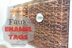 enamel label, cork, faux enamel, craft idea, batchelor, baskets, blog, enamel tag, sewing patterns