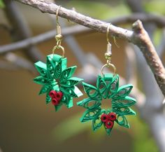 christmas wreaths, craft, quill earring, quill christma, quill jewelri