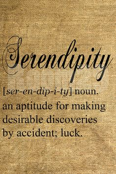 """Serendipity- My favorite word """"A happy accident"""""""