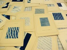 Ana Lisa Hedstrom collection of her vintage indigo dyed Japanese shibori samples