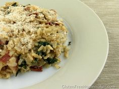 rice casserole with bacon and spinach-- looks delish if you are gluten free or not. cook, food, rice casserol, glutenfre recip, spinach, bacon, casserol recip, side dish