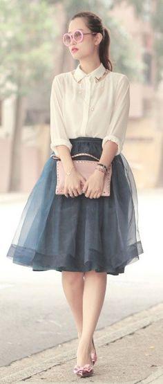 Blue-Grey, Tulle Skirt.