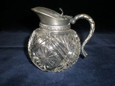 ABP Cut Glass Syrup Pitcher w/Metal Flip Lid & Curved Handle