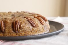 Pecan Upside-Down Cake packs a big, nutty, caramel flavor punch in a simple one-layer cake. - Bake or Break