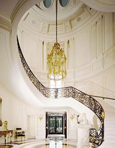 Luxury interior Designs | Great-Luxury-Interior-Design-Luxury-Hanging-Lamp-Luxury-Staircase.jpg Interior Design, Home Interiors, Stairway, Grand Entrance, Foyer Design, Dream Hous, Spiral Staircases, Modern Homes, Hanging Lamps