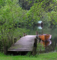 The dock at the vacation home with the canoe at the ready