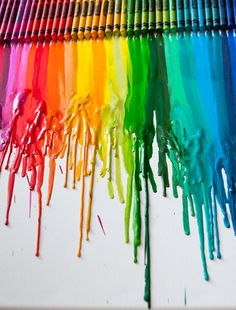 Melted Crayon Art.    http://kidcrave.com/age/all-ages/melted-crayon-art/