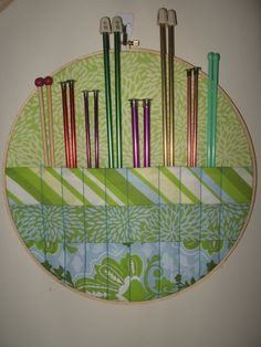 Embroidery hoop storage for your knitting needles.