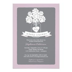 """A lovely white mason jar illustration overflowing with white hydrangea flowers and a little heart tag that reads, """"baby"""". All in a fanciful lavender purple, white and soft dove gray color scheme, this Baby Shower invitation is sure to please and is beautiful for a rustic chic country shower, garden party, or popular mason jar themed shower."""