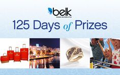 In honor of Belk's 125th Anniversary, they're celebrating with 125 days of prizes! Join the party now and you could be a winner!