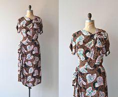 Plantae dress • vintage 1940s dress • printed rayon 40s dress on Etsy, $214.00