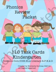 Kindergarten Task Cards Bundle! 210 Cards! Phonics and Sight Words! Early Finishers! from Kimberly Sullivan on TeachersNotebook.com -  - This bundle is great for your students who need a review with phonics and sight words! Early finishers, individualized instruction, small group, tutoring, homeschool, and centers.