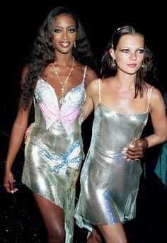 Naomi & Kate in shiny slipdresses, SO '90s